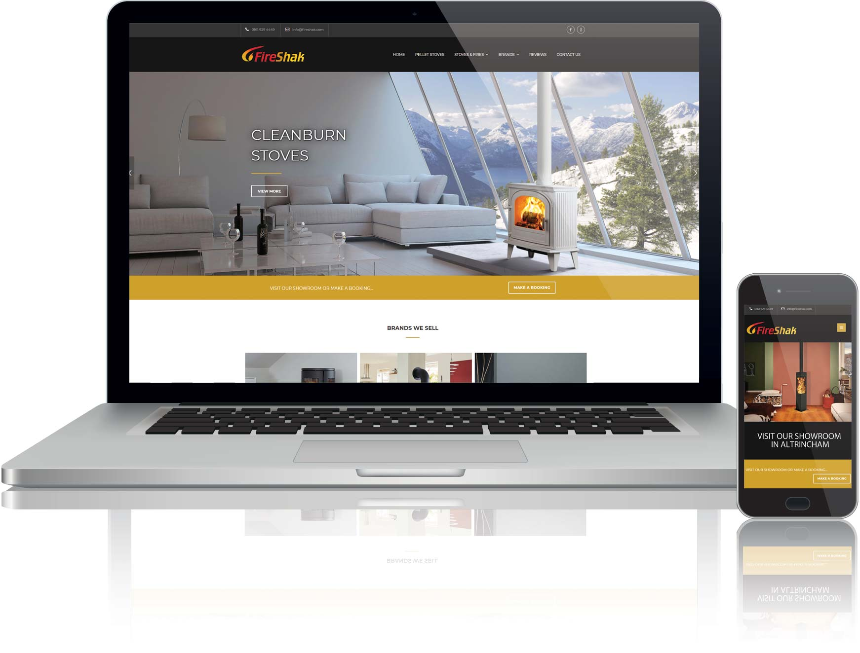 website design and seo for fireplace showroom