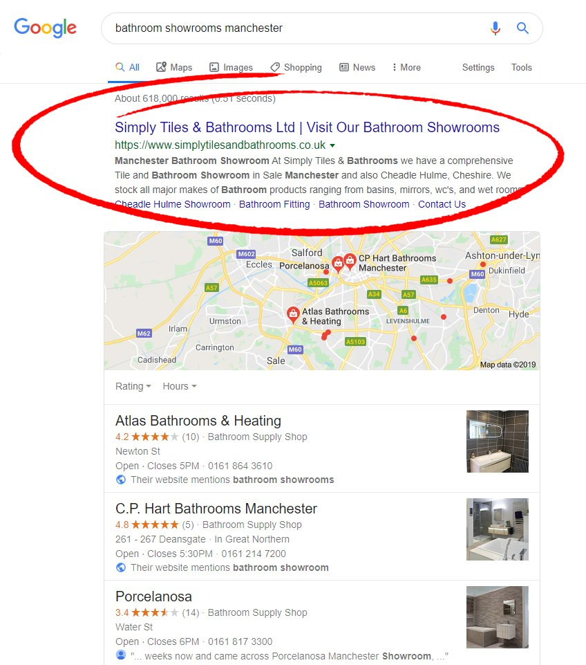 seo results for bathroom showroom company