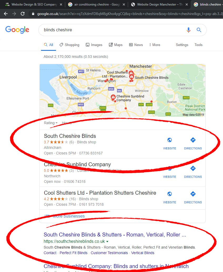 seo results for window blinds company