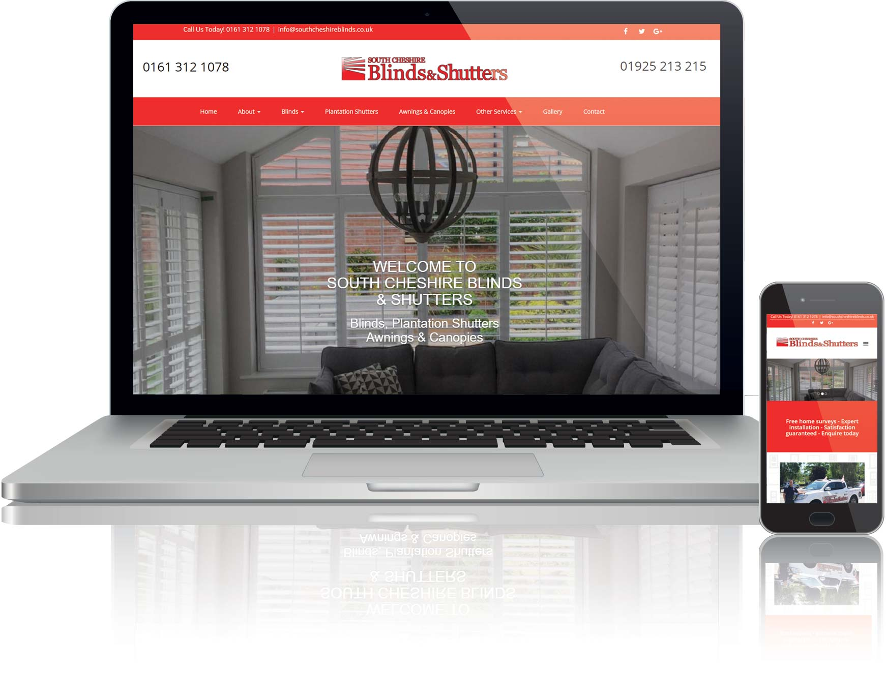 website design for a window blinds company