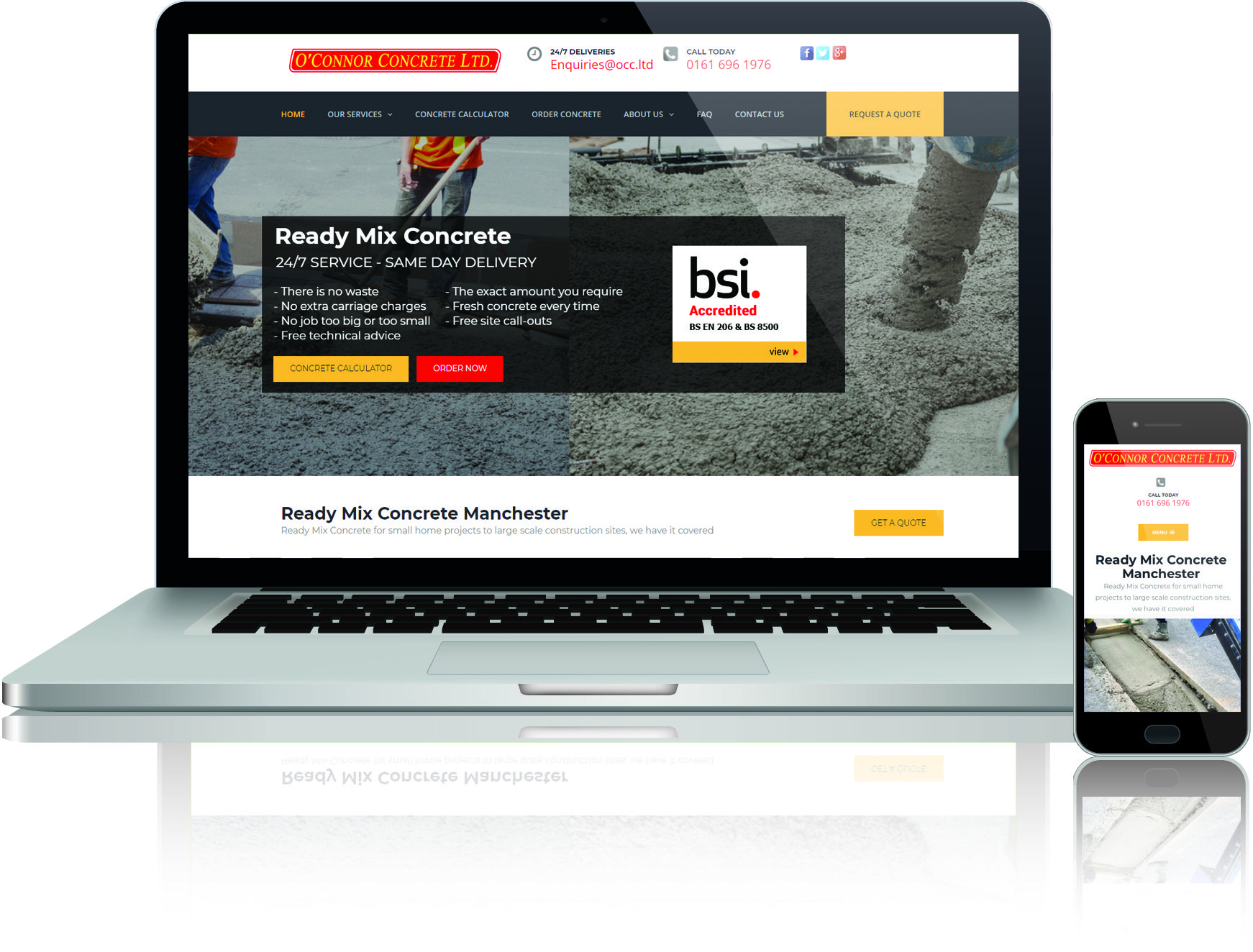 website design and seo for o'connor concrete