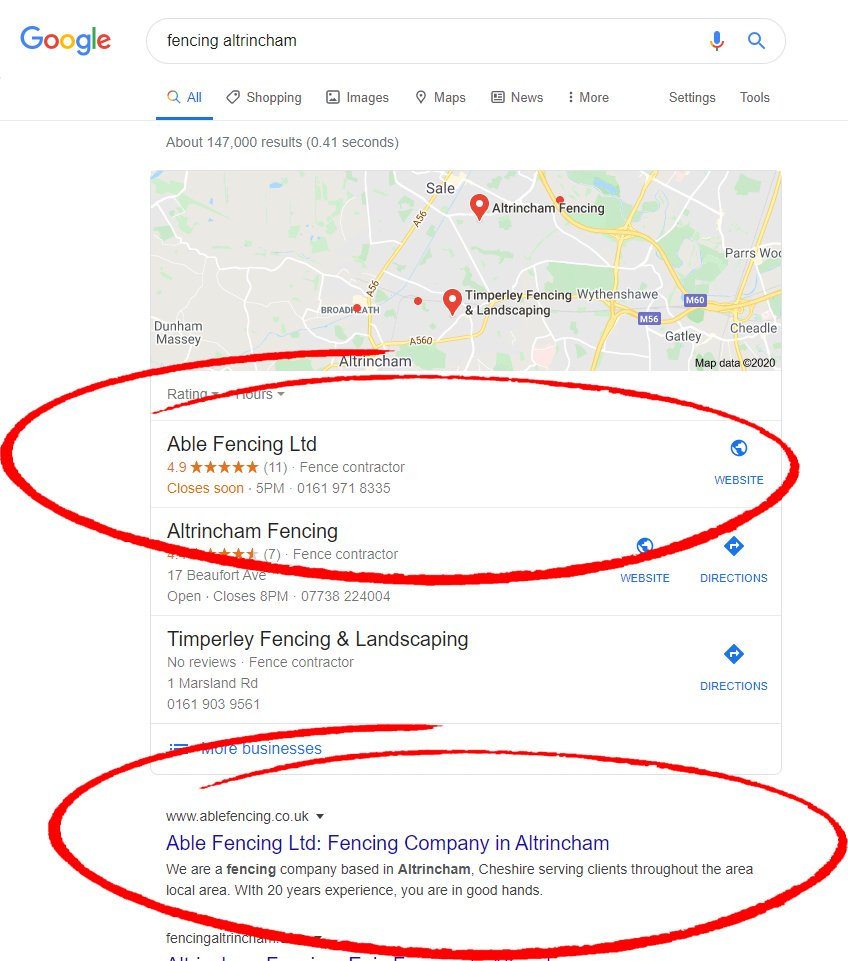 seo results for fencing company
