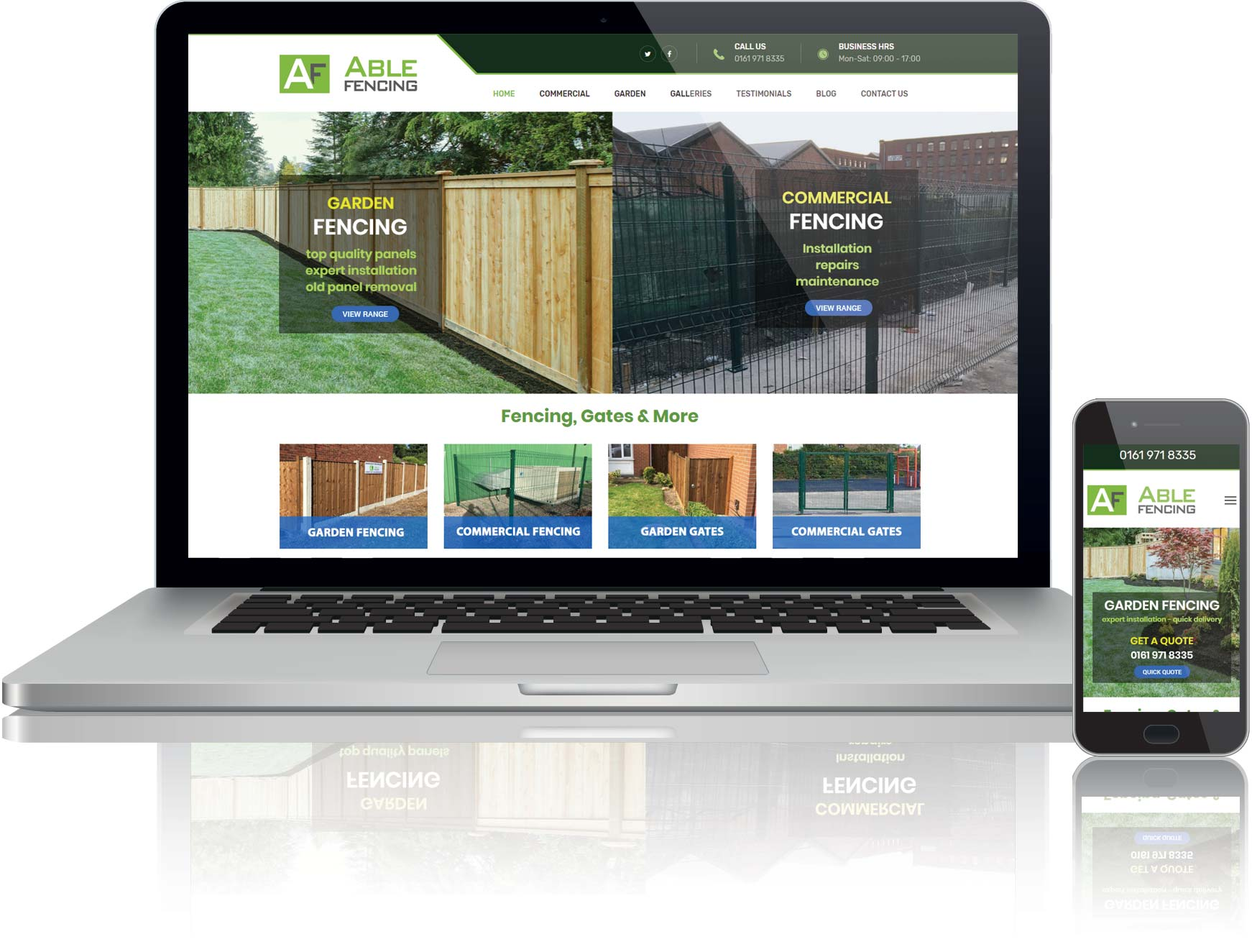 website design for able fencing ltd