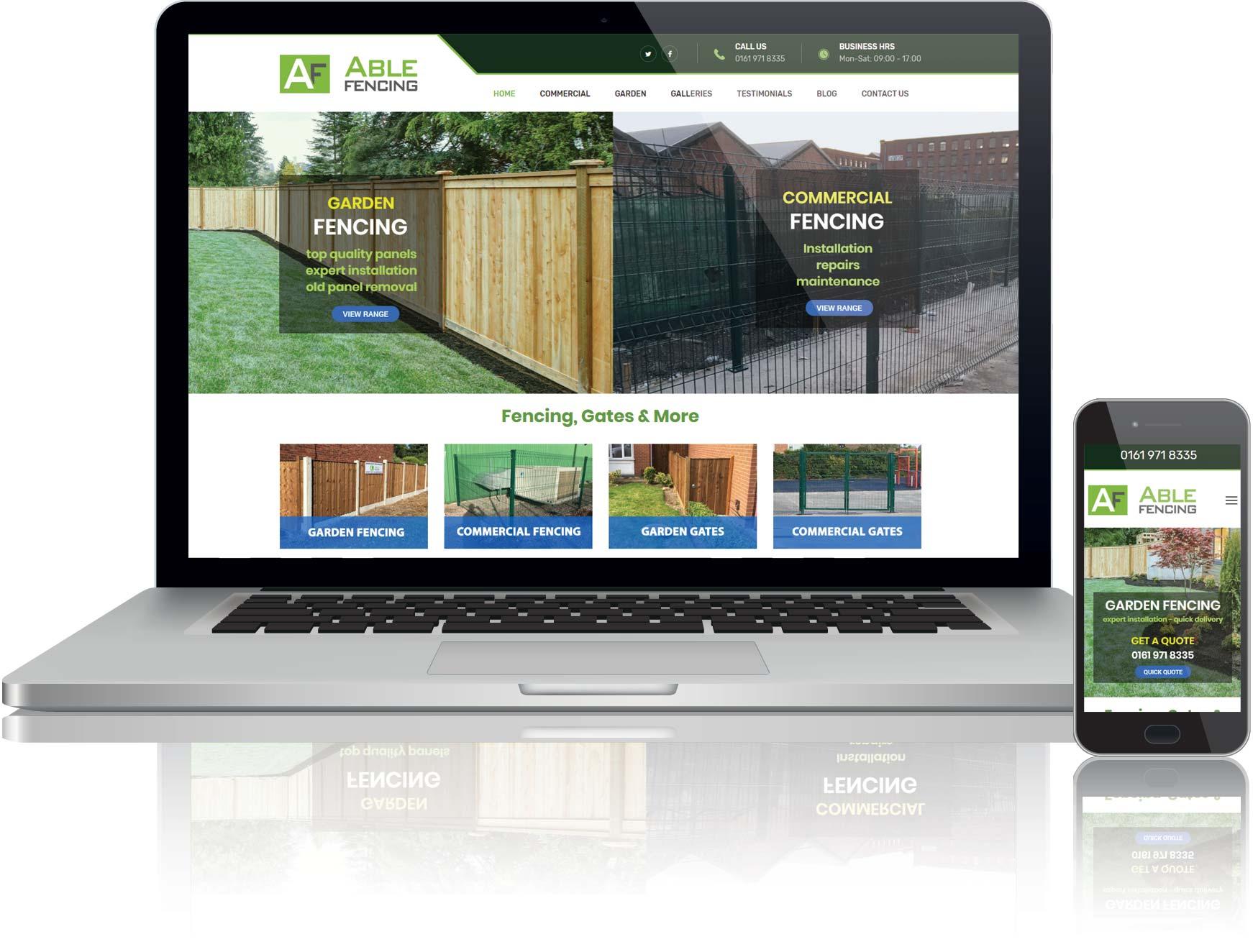 website design for able fencing ltd
