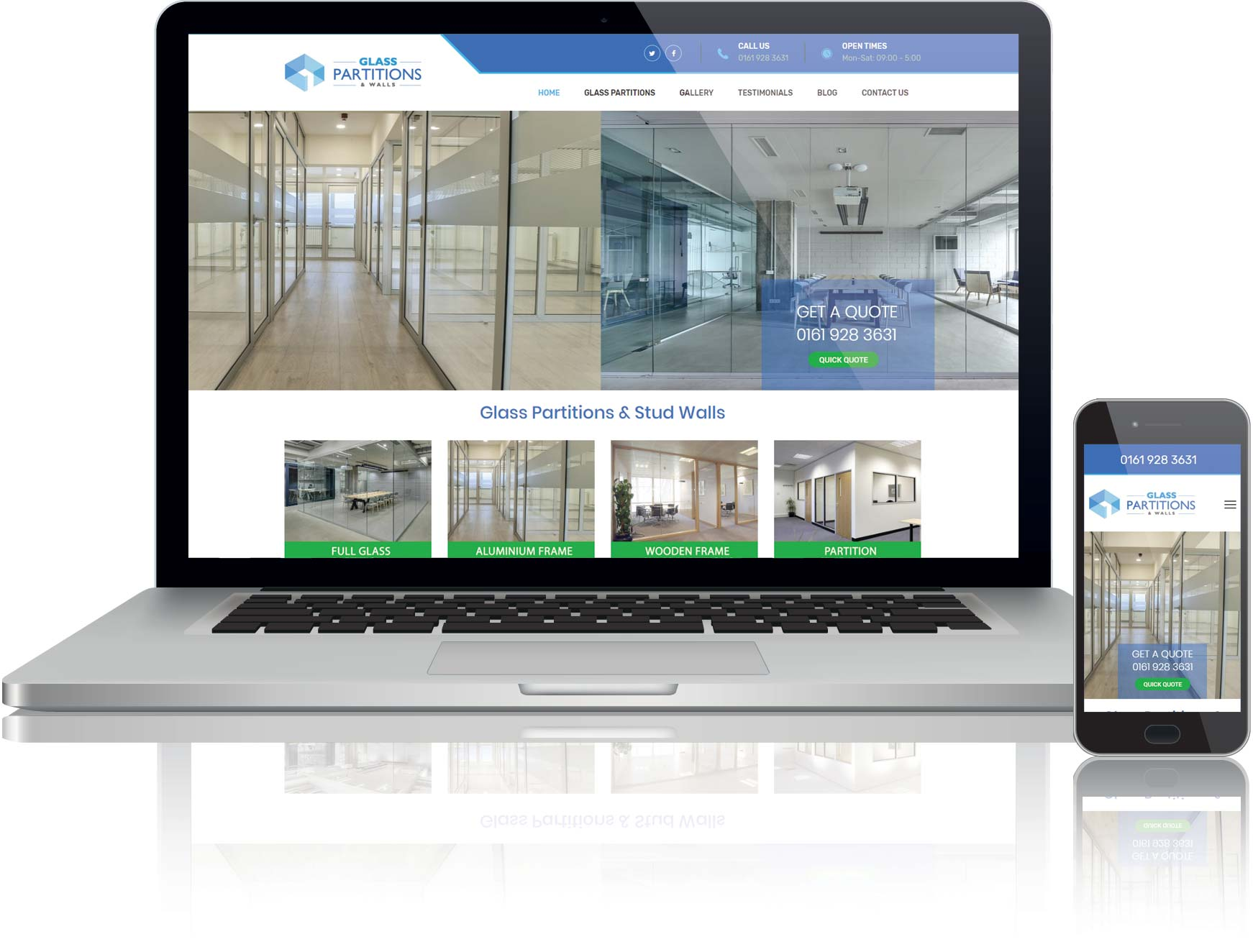 website design for glass partitions company in Manchester