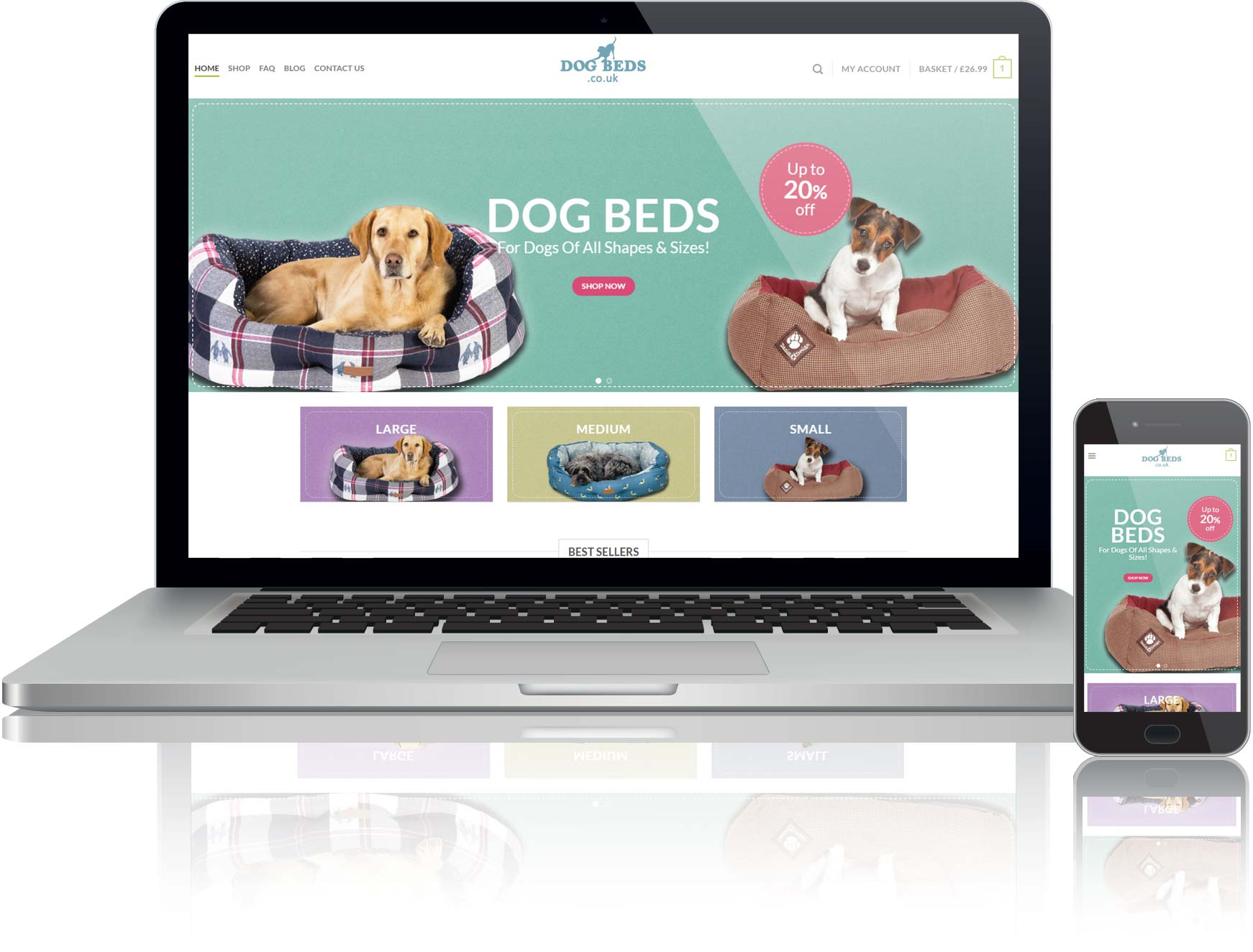 website design for online shop selling dog beds