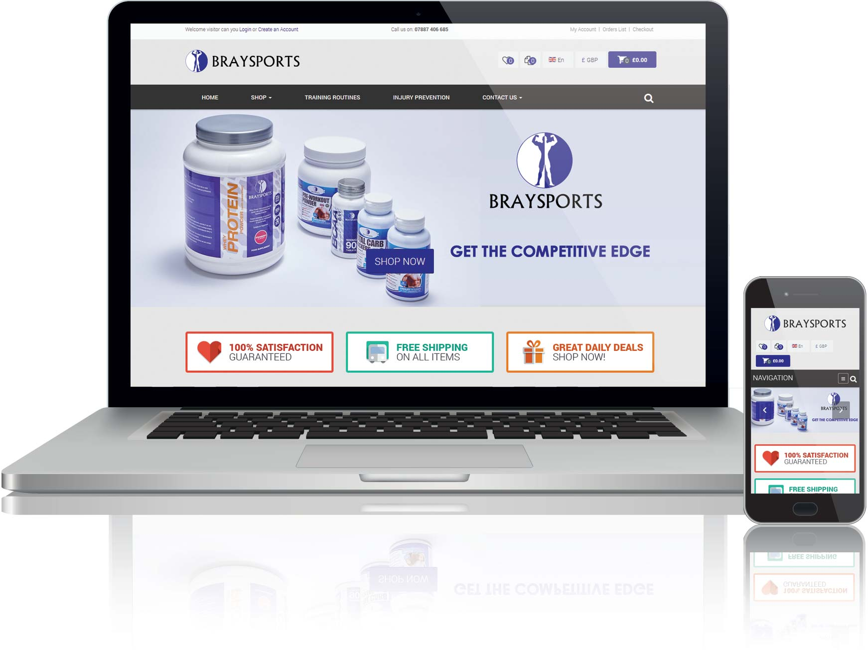 website design for supplements online shop