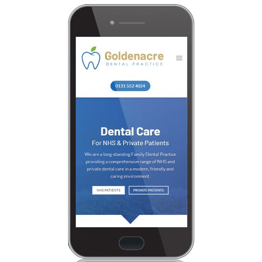 website design for dentists mobile version